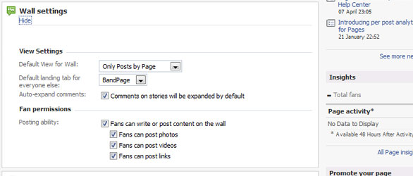 Facebook BandPage wall settings
