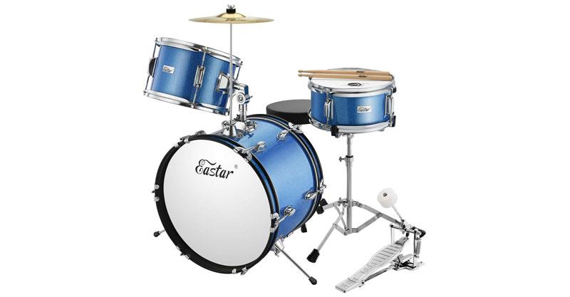 Eastar EDS-280Bu 16 Inch 3 Piece Kids Junior Drum Set