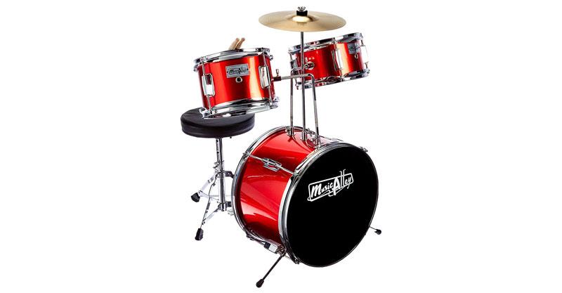 Music Alley DBJK02-MR Kids 3-Piece Beginners Drum Kit